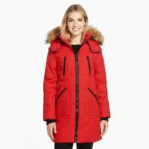 Guess Red 'Expedition' Faux Fur Hooded Parka Coat